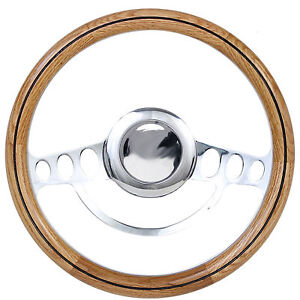 Real Oak Hot Rod Steering Wheel For Flaming River Ididit Gm Column Boss Kit