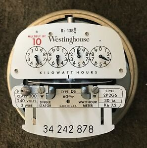 Vintage Westinghouse Electric Meter 240 Volts 200 Amp 3 wire Style 2p2g6