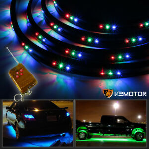 7 Color Led Under Car Underbody Neon Glow Light Strip Kit Remote Control 36 24