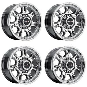 Set 4 17 Vision 399 Fury Chrome Wheels 17x8 5 5x4 5 18mm Ford Ranger Jeep 5 Lug