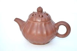 Unique Chinese Yixing Zisha Red Clay Mellon Shape Teapot Sign Lid Bottom