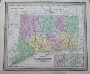 Connecticut Hartford New Haven Greenwich Old 1850 Antique Cowperthwait Map