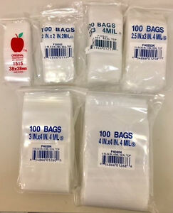 1200 Zip Lock Bags In 6 Assorted Sizes 1 5 x1 5 2 x2 2 5 x3 2 x3 3 x4 4 x4