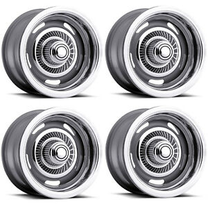 Vision Wheel 55 5873 Set Of 4 Silver 55 Rally 15x8 6 Offset 5x5 Rims