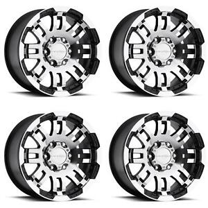 Vision Wheel 375vt6683gbmf0 Set Of 4 Black W Machined Face 375 Warrior 16x6 Rims