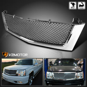 For 2002 2006 Cadillac Escalade Est Esv Chrome Front Bumper Mesh Grill Grille