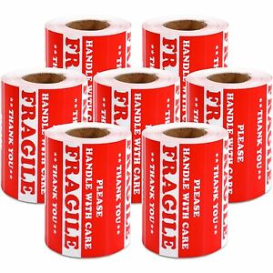 3500 Pcs 3 X 5 Handle With Care Fragile Label Warning Sticker Semi Gloss Red