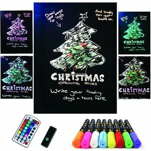 Flashing Erasable Neon Led Message Writing Board Menu 8 Highlighter Marker Er99