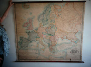 Antique Stanfords Map Of Europe 1924 Very Large On Wooden Rails