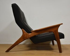 Adrian Pearsall Black Leather Mid Century Lounge Chair