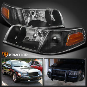 For 1998 2011 Ford Crown Victoria Black Headlights turn Signal Lamps Left right