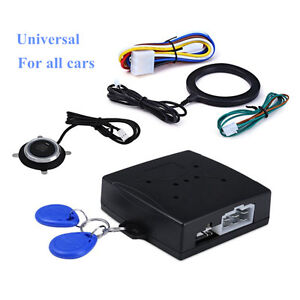 Keyless Entry Car Alarm Rfid System W Push Button Start Remote Engine Starter