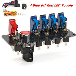 Racing Car Ignition Switch Panel Engine Start 4 Blue 1 Red Led Toggle Button
