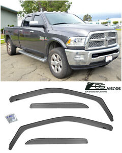 In channel Side Window Visors Deflectors For 09 18 Ram 1500 2500 3500 Crew Cab