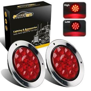 2xred 12led Truck Trailer Stop Turn Tail Brake Lights 4 Round W stainless Rings