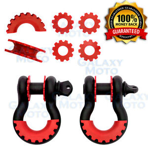 1 Pair 3 4 Black 4 75 Ton D ring Shackle W red Isolator Washers Silencer Clevis