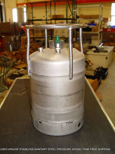 Used Apache Stainless Sanitary Steel Pressure Vessel Tank Free Shipping