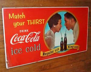 1956 (dated) Coca-Cola cardboard sign~Match your thirst~African American couple
