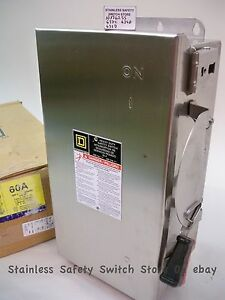 Square D 316 Stainless Hu362ss 60a 600v Non fused Safety Switch 32 Available New