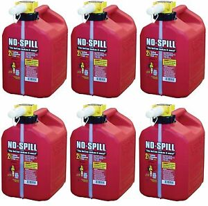 Lot Of 6 No spill 1405 2 1 2 gallon Poly Gas Can carb Compliant Red 2 5 Gal