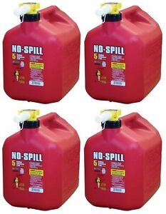 Lot Of 4 No spill 1450 5 gallon Poly Gas Can carb Compliant Red 5 Gal