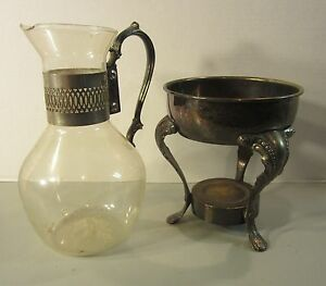 Vintage 13 Coffee Tea Glass Carafe Server Silver Plated Stand Warmer