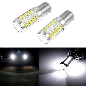Led Car 2x White Bulbs Ba15s P21w 1156 Backup Reverse Light 33 Smd 5630 5730 12v