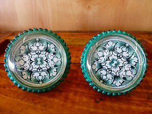 2 Lg Green Glass Floral Drawer Cabinet Pulls Knobs Vintage Shabby Chic Hardware