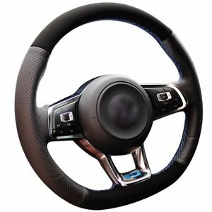 Top Leather Steering Wheel Hand Stitch On Wrap Cover For Vw Golf 7 R Mk7 Polo