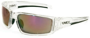 Uvex Hypershock Safety Glasses Clear Ice Frame Red Mirror Lens