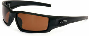 Uvex Hypershock Safety Glasses Black Frame Espresso Polarized Lens