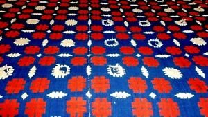 Antique Woolen Home Spun In Different Colors Red Cream Blue 1800 Coverlets
