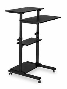 Mount it Mobile Computer Laptop Stand Up Desk Height Adjustable Rolling Cart
