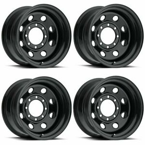 Set 4 15 Vision 85 Soft 8 Gloss Black Steel Wheels 15x7 6x5 5 6mm Chevy 6 Lug