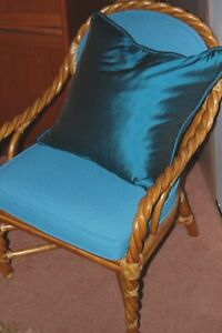 Vintage Mcguire Braided Rattan Dining Chairs 4 Original And Table Base Great