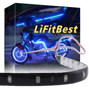 24 Blue Led Wheel Eyebrow Neon Glow Strip Lights Fender Lamp Under Car For Benz
