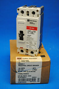 Cutler Hammer Ed2100l Circuit Breaker 2 pole 100 amp 240 volt A c New In Box