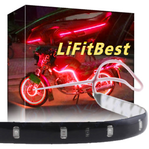 24 Red Led Wheel Eyebrow Neon Glow Strip Lights Fender Lamp Under Car For Benz