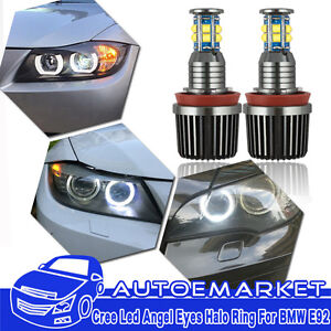 2x 120w Cree H8 12 led Angel Eyes Halo Ring Light Bulbs Hid Xenon White For Bmw