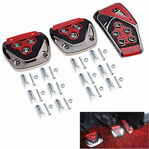 Red 3 Pcs Car Fit S Manual Transmission Yellow Flames Foot Pedals Pads Covers