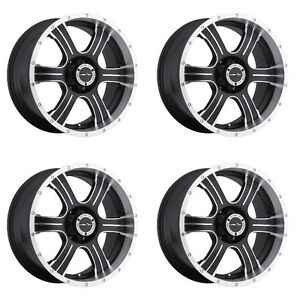 Set 4 16 Vision 396 Assassin Black Machined Wheels 16x8 5x5 0mm Jeep 5 Lug Rims
