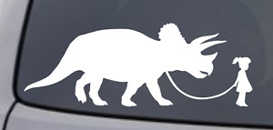 Girl Walking Triceratops Vinyl Decal Sticker Car Window Wall Bumper Pet Dinosaur