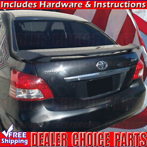 For 2007 2012 Toyota Yaris 4dr Trd Matte Black Factory Style Spoiler Wing W led
