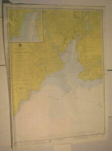 New Haven Harbor Connecticut Oyster River Woodmont 1976 Vintage Nautical Map