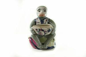 Cute Porcelain Monkey Holding Peach Figurine Missing Lid