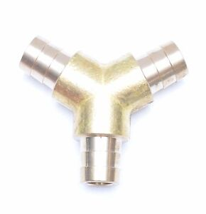 Triple Barb Y 5 8 Hose Id Brass Fitting Irrigation Air Fuel Water Fasparts
