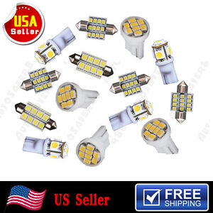14pcs T10 168 192 Led 31mm 578 White Led Bulb Lights Car Interior Package Kit