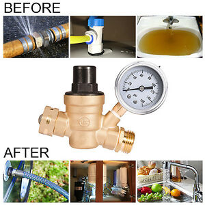 Adjustable Rv Water Pressure Regulator W Tainless Steel Gauge 3 4 Nh Threading