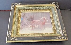 Victorian Eastlake Shadow Box Frame Marbleized Aesthetic 3 Tier Deep Gold Filet