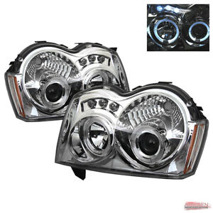 Fits 05 07 Jeep Grand Cherokee Twin Halo Led Projector Headlights Replacement